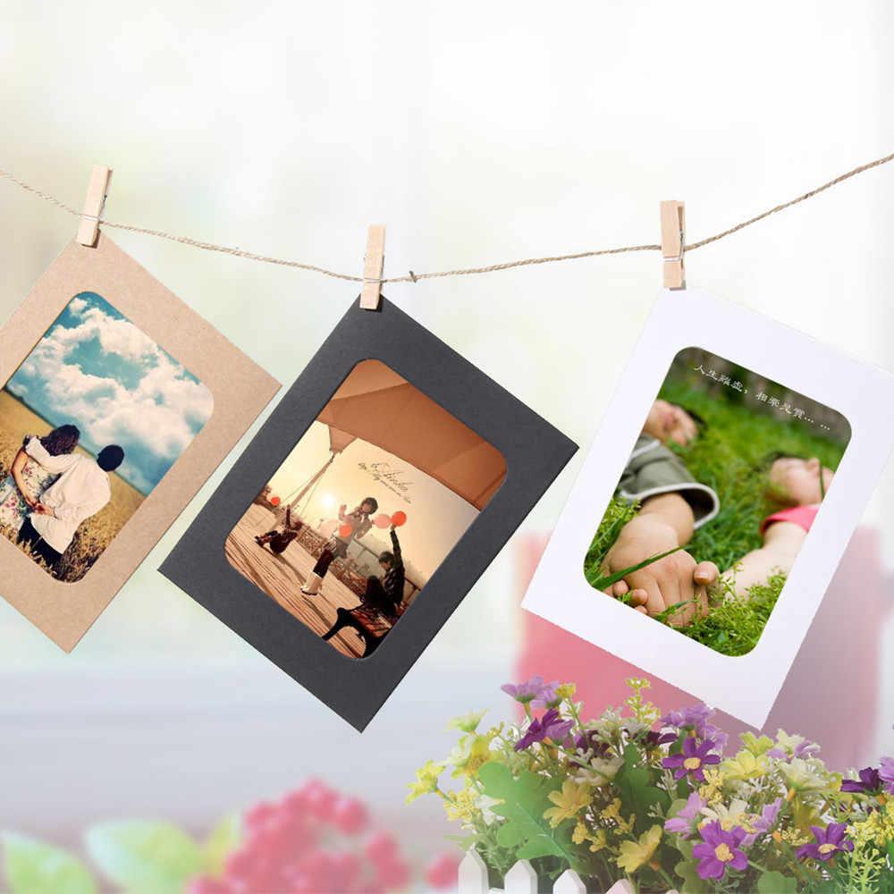 10 Pcs 3Inch Diy Kraftpapier Fotolijst Opknoping Muur Foto Framealbum + Touw + Clips Set Voor familie Geheugen #35