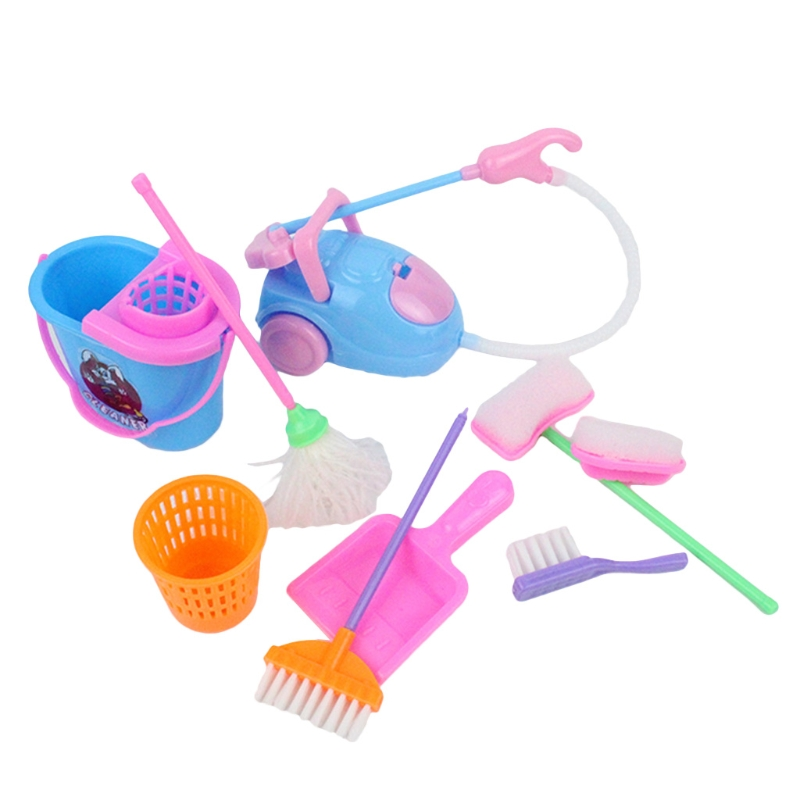 9Pcs Kitchen Cleaning Toys Household Cleaning Tool Pretend Play Toys Interactive & Educational Housekeeping Cleaning Toy H055