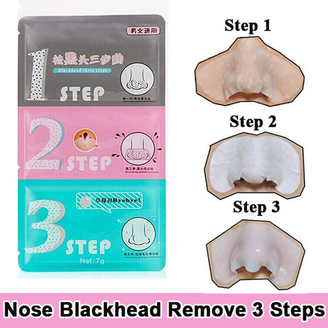 Hot sale new 1Pcs Pig Nose Mask Remove Blackhead Acne Remover Clear Black Head 3 Step Kit Beauty Clean Face Care korean Cosmetic 5