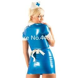Látex de borracha cosplay vestido de enfermeira costome com boné & avental conjuntos de uniforme de látex saias sexy frente zip plus size