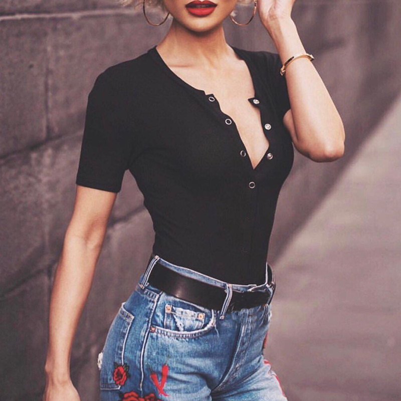 Bodysuit Buttons Sexy Skinny Body Tops Suit Women Rompers Short Sleeve Bodycon Bodysuits Summer Short Jumpsuits Overalls GV168