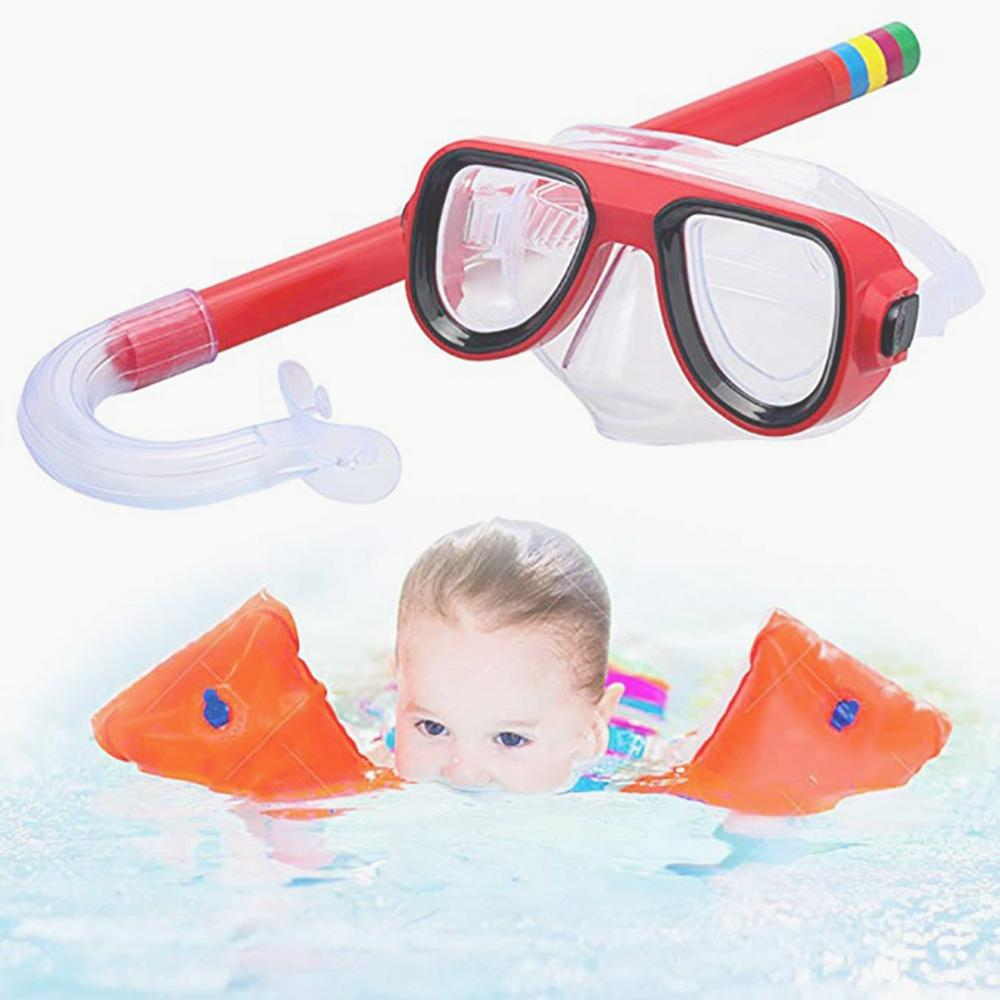 Kids Diving Goggle Mask Breathing Tube Shockproof Anti-fog Children Swimming Glasses Band Snorkeling Underwater Accessories Set