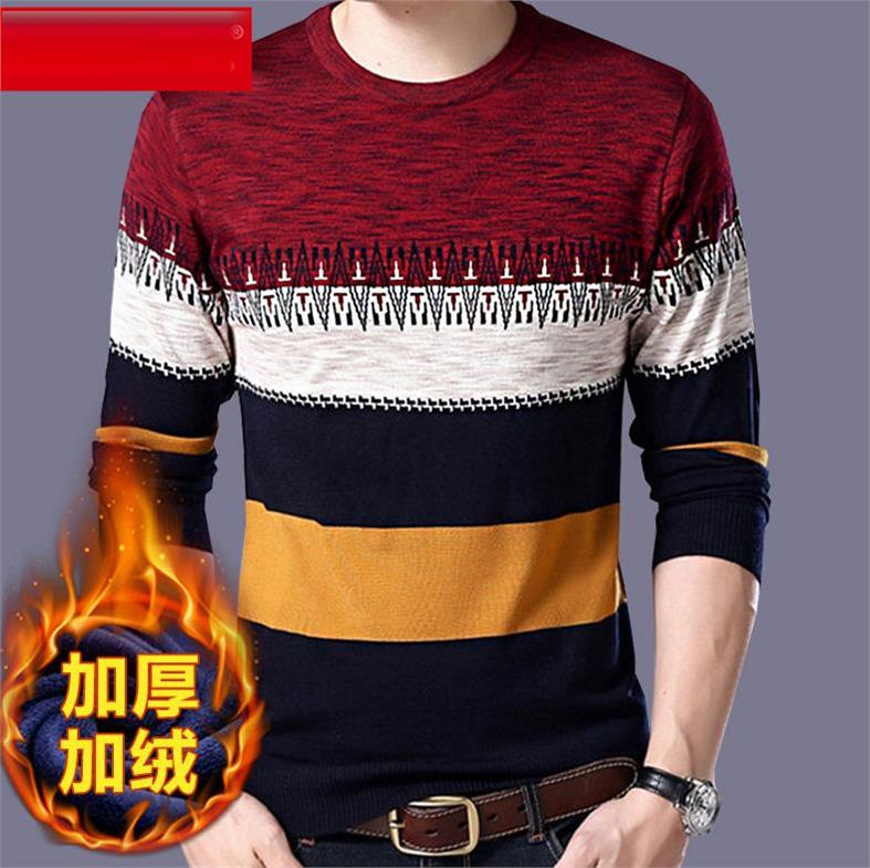 OLOEY Men's Fashion Striped Wool Sweater Warm Cashmere Pullover Sweater Jumper Men O Neck Large Size Pull Homme Sueter Hombre