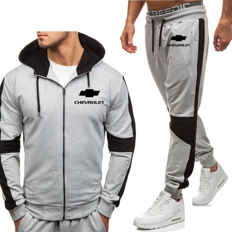 Hoodies Men Chevrolet Car Logo Print Casual Fashion  Harajuku Hooded Fleece Warm Zipper Jacket Sweatshirt Sweatpants Suit 2pcs