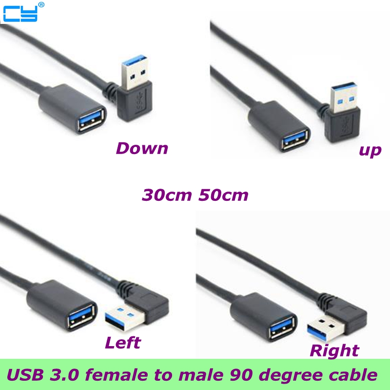 90 degree Left bending USB3.0 Extension cord Male to Female USB3.0 Cable computer laptop connect network card U disk USB3 Line