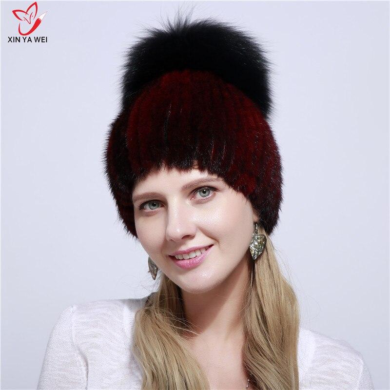 2019 New Fashion Fur Hat Real Mink Fur Hat Winter High Quality Female Mink Hat Winter Accessories Fox Fur Ball Warm Hat.