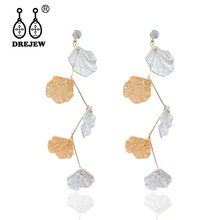 DREJEW Korean Green White Orange Flowers Leaf Cute Statement Earrings 925 Crystal Drop for Women Wedding Jewelry HE8141