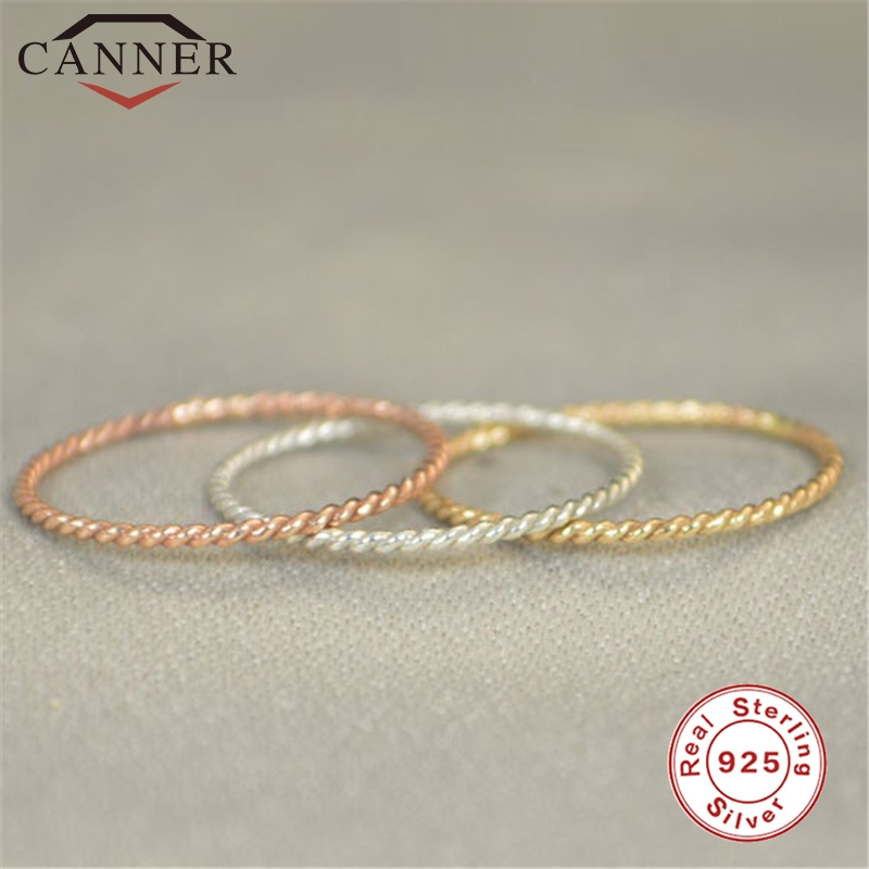 Twist-Ring Wedding-Jewelry Geometric Rose-Gold 925-Sterling-Silver Thin Korean Women title=