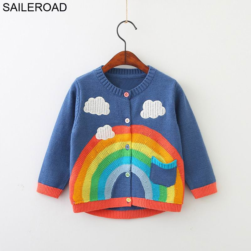 SAILEROAD 2-7Years Rainbow Embroidery Knitted Sweater for Girl Autumn Cardigan for Boys Warm Sweaters for Girls Kids Clothes 1
