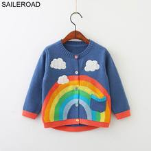 SAILEROAD 2 7Years Rainbow Embroidery Knitted Sweater for Girl Autumn Cardigan for Boys Warm Sweaters for Girls Kids Clothes