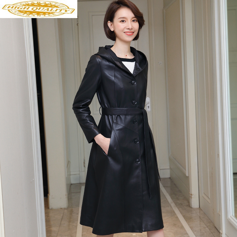 100% Real Sheepskin Coat Female Genuine Leather Jacket Long Trench Coats And Jackets Women Hooded Korean Outwear MY3709