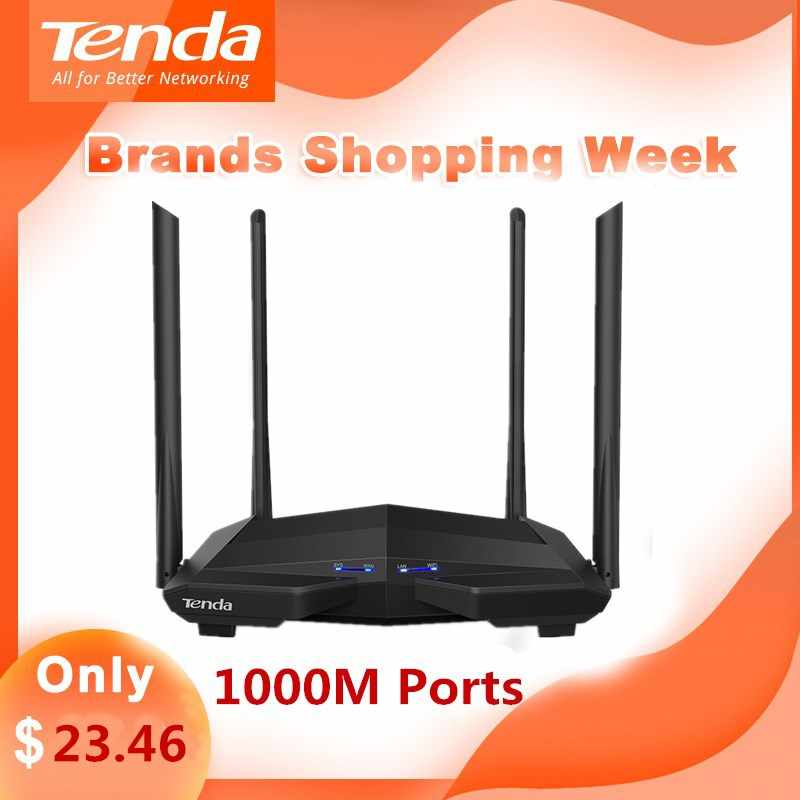 Tenda AC10 Gigabit Wireless Router Wifi AC1200 doble banda 2,4G/5G 1 WAN + 3 LAN 1000 mbps Puerto repetidor Wifi 1GHz CPU APP gestionar