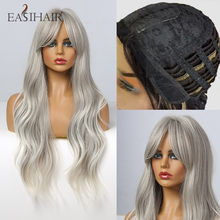 Easihair longo cinza ombre ondulado perucas para mulheres franja perucas sintéticas para preto afro peruca de cabelo natural resistente ao calor