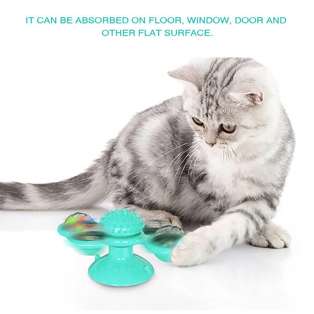 猫風車玩具おかしいマッサージ回転可能な猫のおもちゃキャットニップとledボール歯クリーニング製品ドロップシッピング