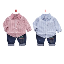 Baby Boy Clothes Casual Striped Shirt+Jeans 2pc Clothing Set  Child Kids Costume For Boys Toddler