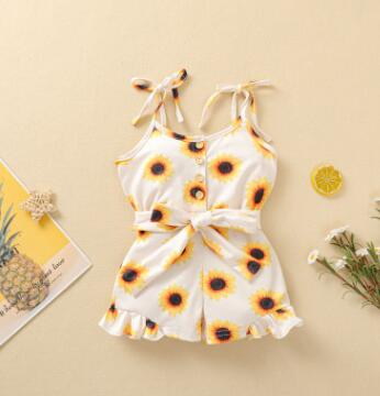 Kids Baby Girls Sunflower Printed One-piece Romper Sleeveless Button Short Pants Sling Jumpsuit Yellow Clothes