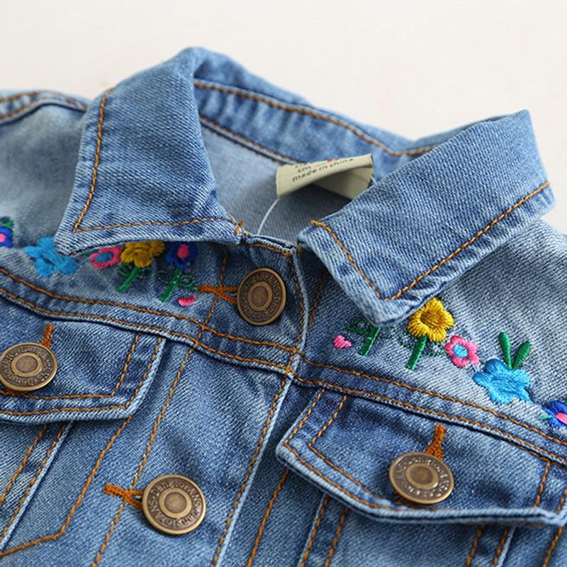 Image 3 - childrens jacket 2019 spring and autumn new girls fashion denim jacket girls flower embroidery long sleeved lapel jacketJackets & Coats   -