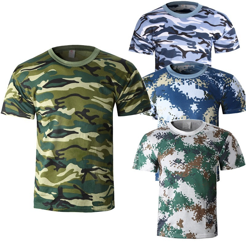 New Men Camouflage T-shirt Breathable Army Combat T Shirt Quick Dry Shirt Summer Short Sleeve Men T-Shirt Digital Military