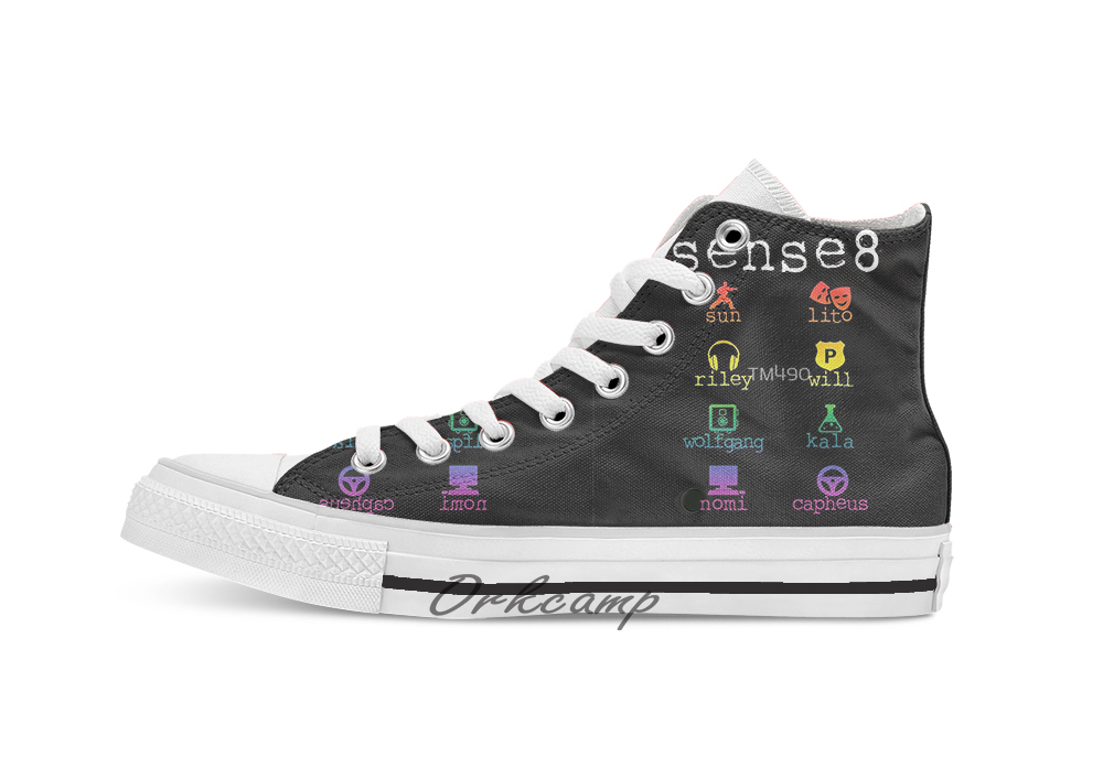 Sense8  Custom Casual High Top Lace-up Canvas Shoes Sneakers Drop Shipping
