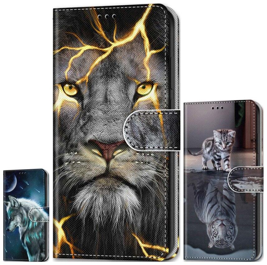 Lion loup tigre garçon étui de téléphone à rabat pour Huawei Honor 20 Lite V20 10 9 8 Lite 20i 10i 9i 8A 8C 8X 8S Y5 chat chien fille portefeuille P08F