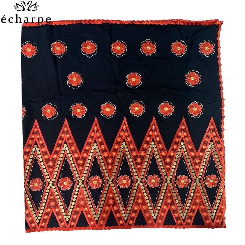 Image 3 - 100% Cotton Scarf African Women Big Scarfs Muslim Women  Embroidery Hijab Scarf Twill Design Headscarf EC123Islamic Clothing