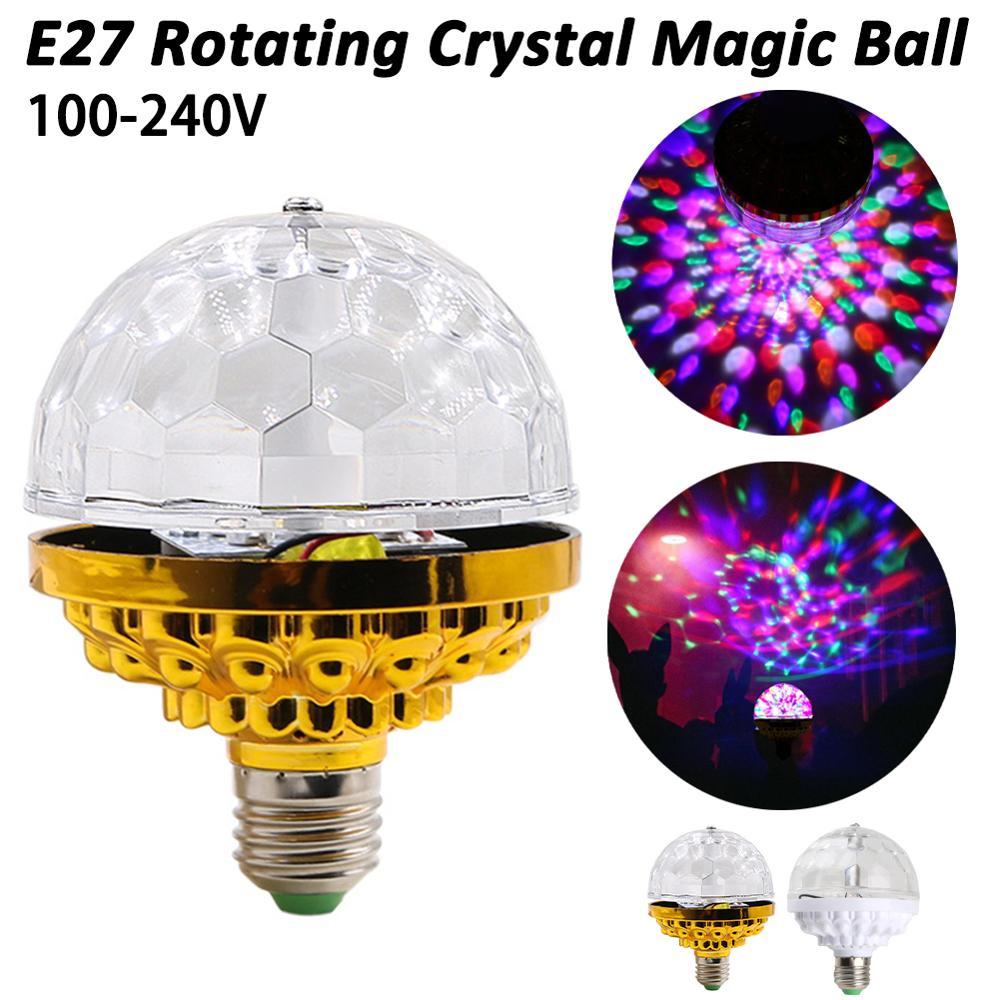 3W LED Mini Stage Disco DJ Light E27 Christmas Festival New Year Party Lighting Auto Rotating RGB Bulb Lamp Magic Balls