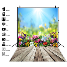 Laeacco Spring Backdrops Sunshine Blossom Flowers Garden Kettle Wooden Floor Baby Portrait Photography Backgrounds Photo Studio