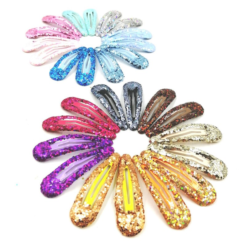 20Pcs/Set Girls Sequin Hairpin Baby Shiny Hair Clip Flower Solid Sweet Headwear Princess Barrette Colorful Ins Hair Accessories