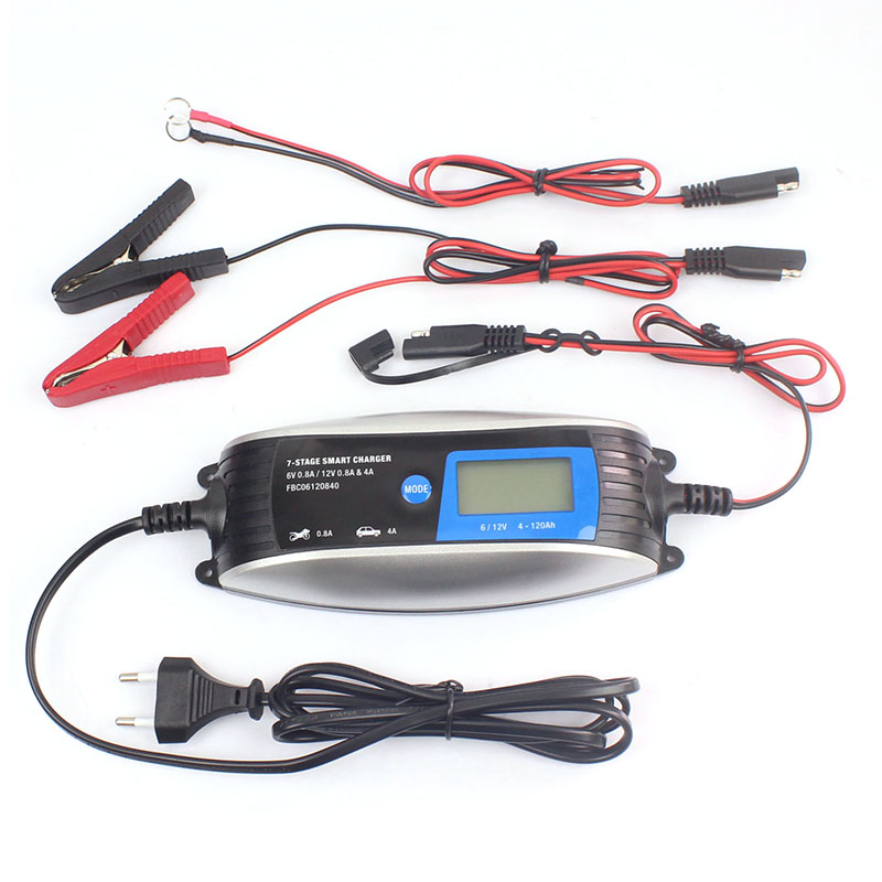 6V/12V 0.8A 4A Motorcycle EU/UK Plug <font><b>Car</b></font> <font><b>Battery</b></font> <font><b>Charger</b></font> Lead Acid 7-Stage Automatic <font><b>Smart</b></font> Waterproof <font><b>Charger</b></font> Dropshipping image