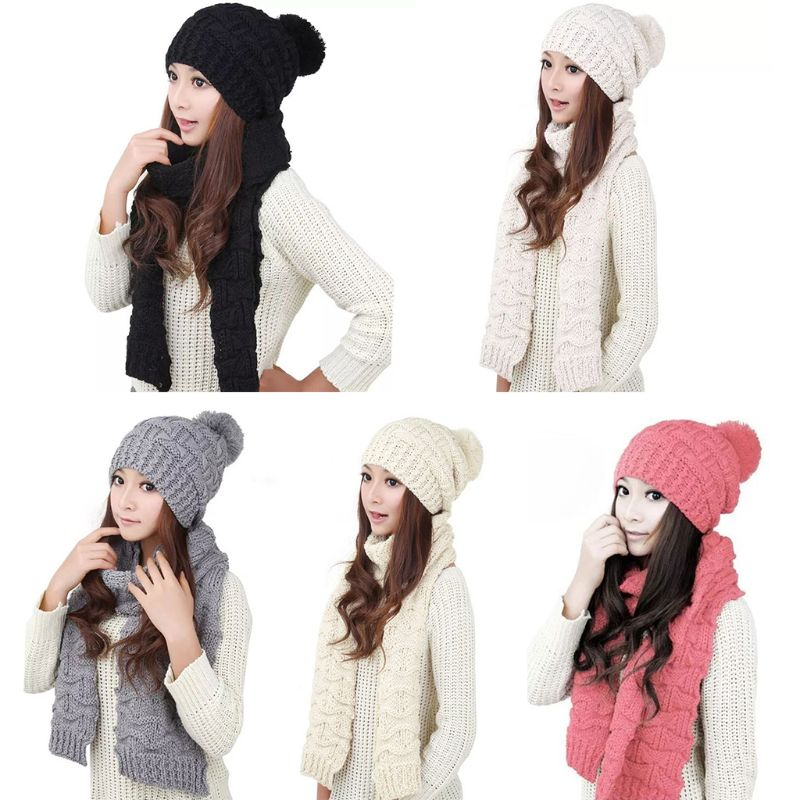 Women Winter Crochet Knit Hat Scarf Set Solid Color Pompom Beanie Cap Neck Shawl