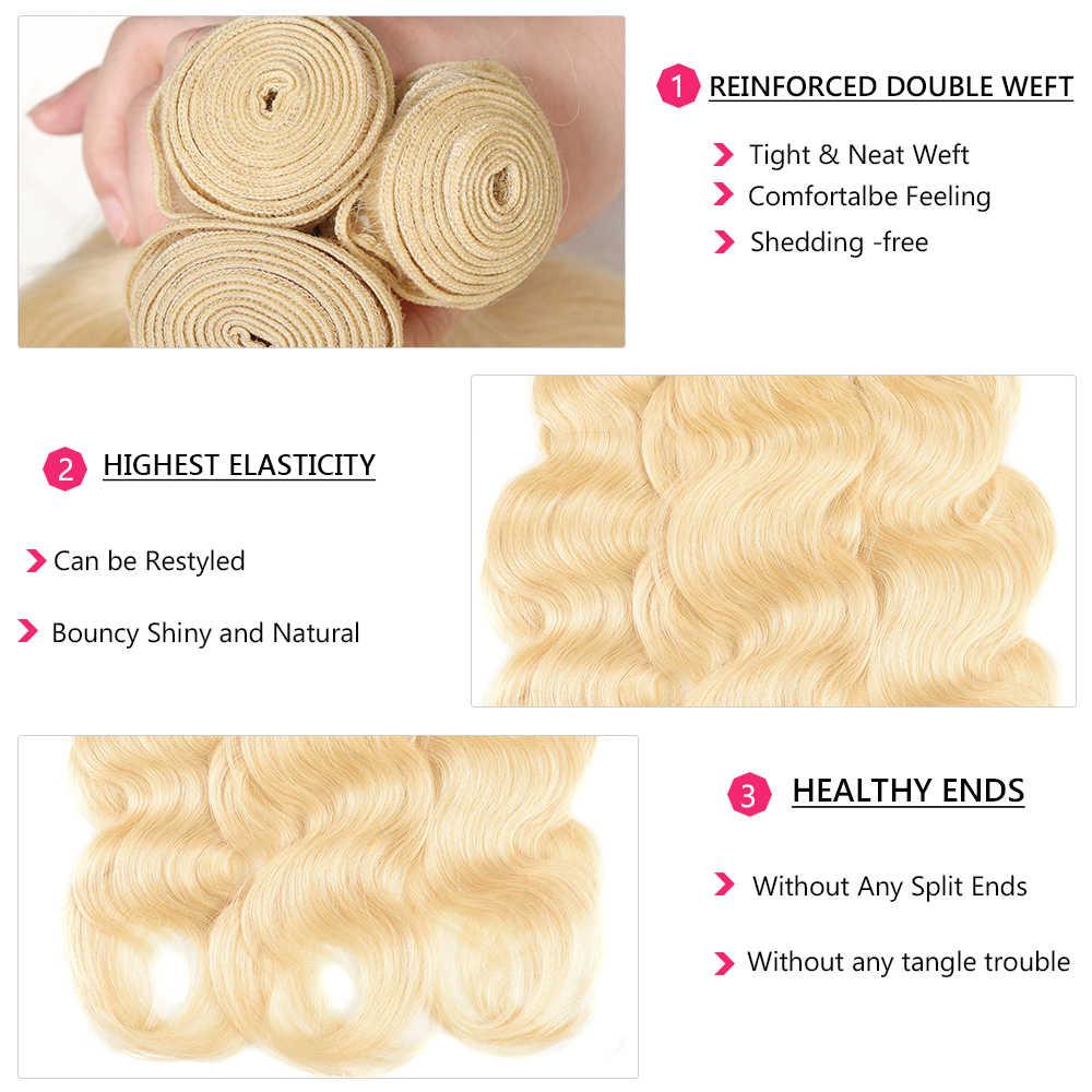 Nadula волосы 613 блонд волнистые пучки 3 шт/4 шт человеческие волосы ткачество окрашенные светлые волосы пучки предложения Бесплатная доставка