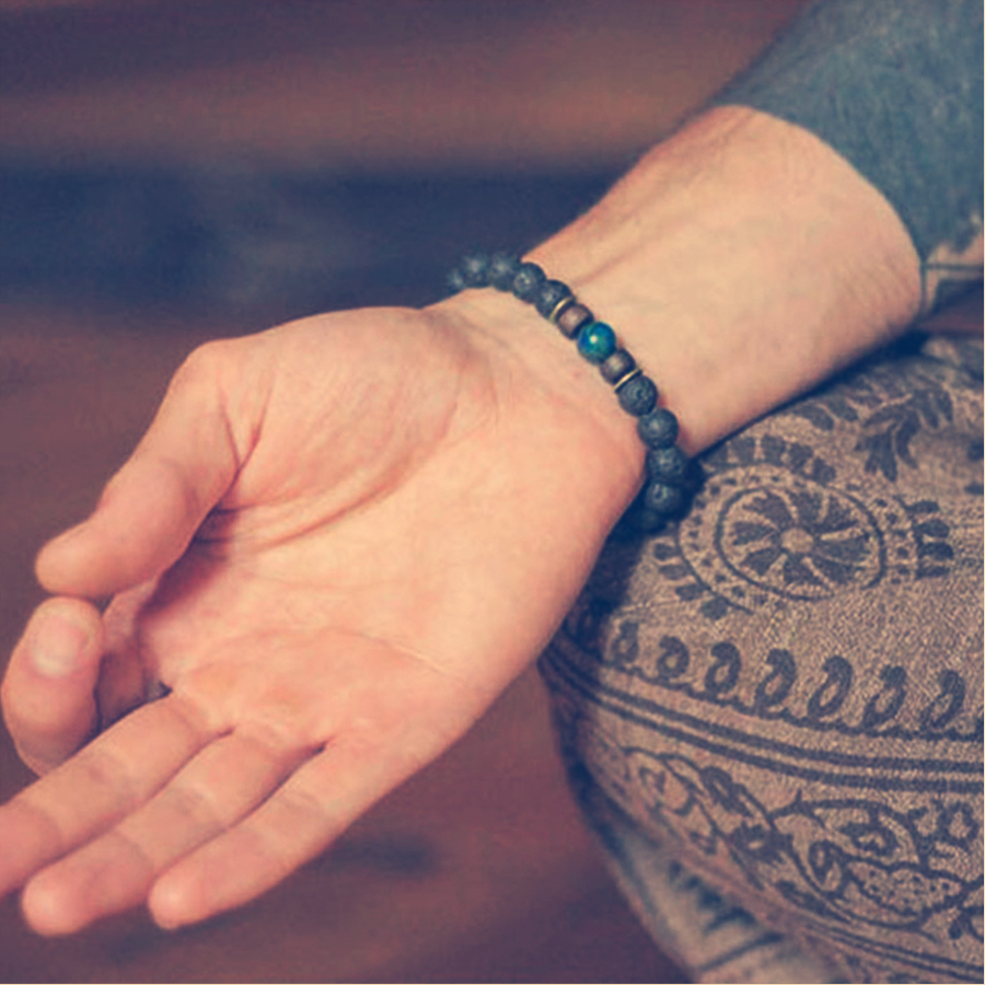 Fashion Lava Stone Bracelet Men Natural Moonstone Bead Chakra Bracelet Male Charm Diffuser Bracelets Heren Armband Jewelry Gift 3