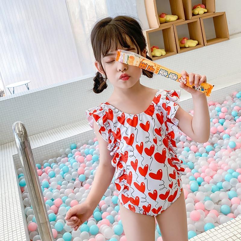 2020 New Style Kid's Swimwear Medium-small Girls Swimwear Girls Holiday Hot Springs Swimwear Children Siamese Swimsuit