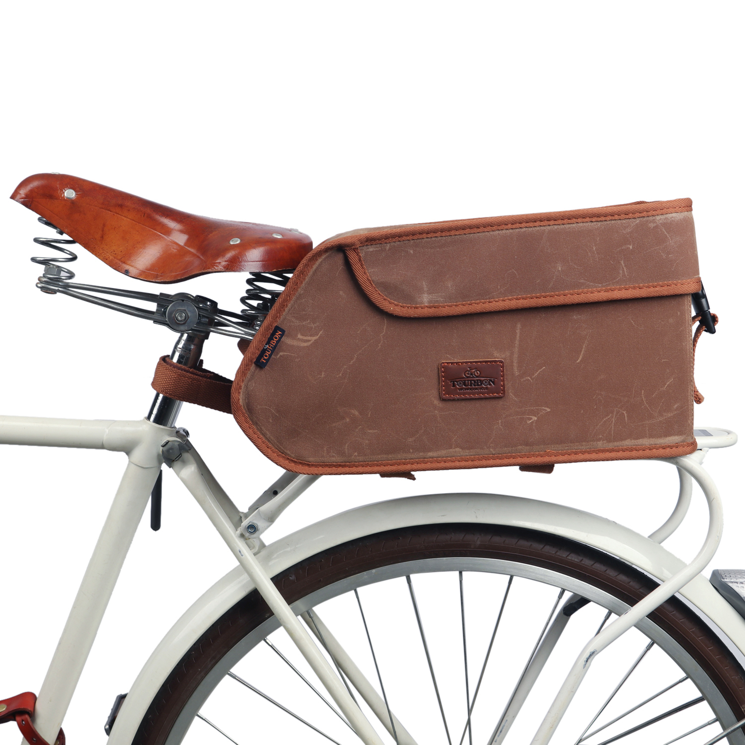 Tourbon Vintage Portable Bicycle Bike Seat Insulated Trunk Cooler Bag Tail Saddle Bags Canvas Pouch Cycling Bike Accessories