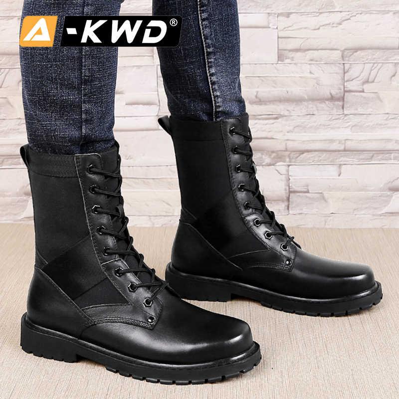 Moda ayakkabılar 2019 Erkek kar botları Erkek Botlar hakiki deri iş ayakkabısı yüksek Top askeri postal dantel-up sıcak ayakkabı erkekler 37 -50