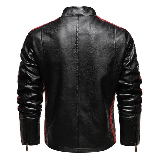 Mens Vintage Motorcycle Jacket 2020 Men Fashion New Biker Leather Jacket Male Embroidery Bomber Coat Winter Fleece Pu Overcoat 5