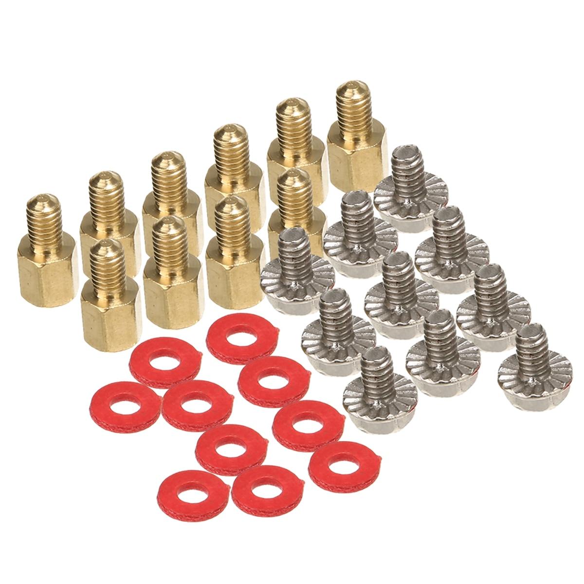 10 pces 6.5mm 6-32-m3 computador placa-mãe de ouro riser + parafusos de prata + arruelas vermelhas
