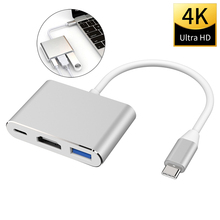 USB C para hdmi 3 em 1 conversor de cabo para samsung huawei apple mac ns usb 3.1 tipo c para hdmi 4k adaptador cabo