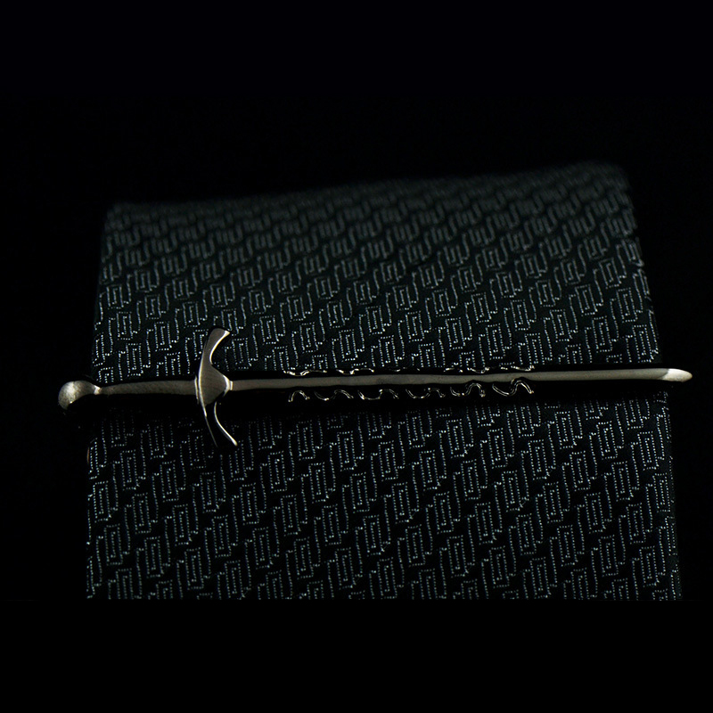 Metal Tie Clips Men's Gifts Daily Accessories Personality Simple Novelty Silver Gun-Black Big Sword High-quality Necktie Clip