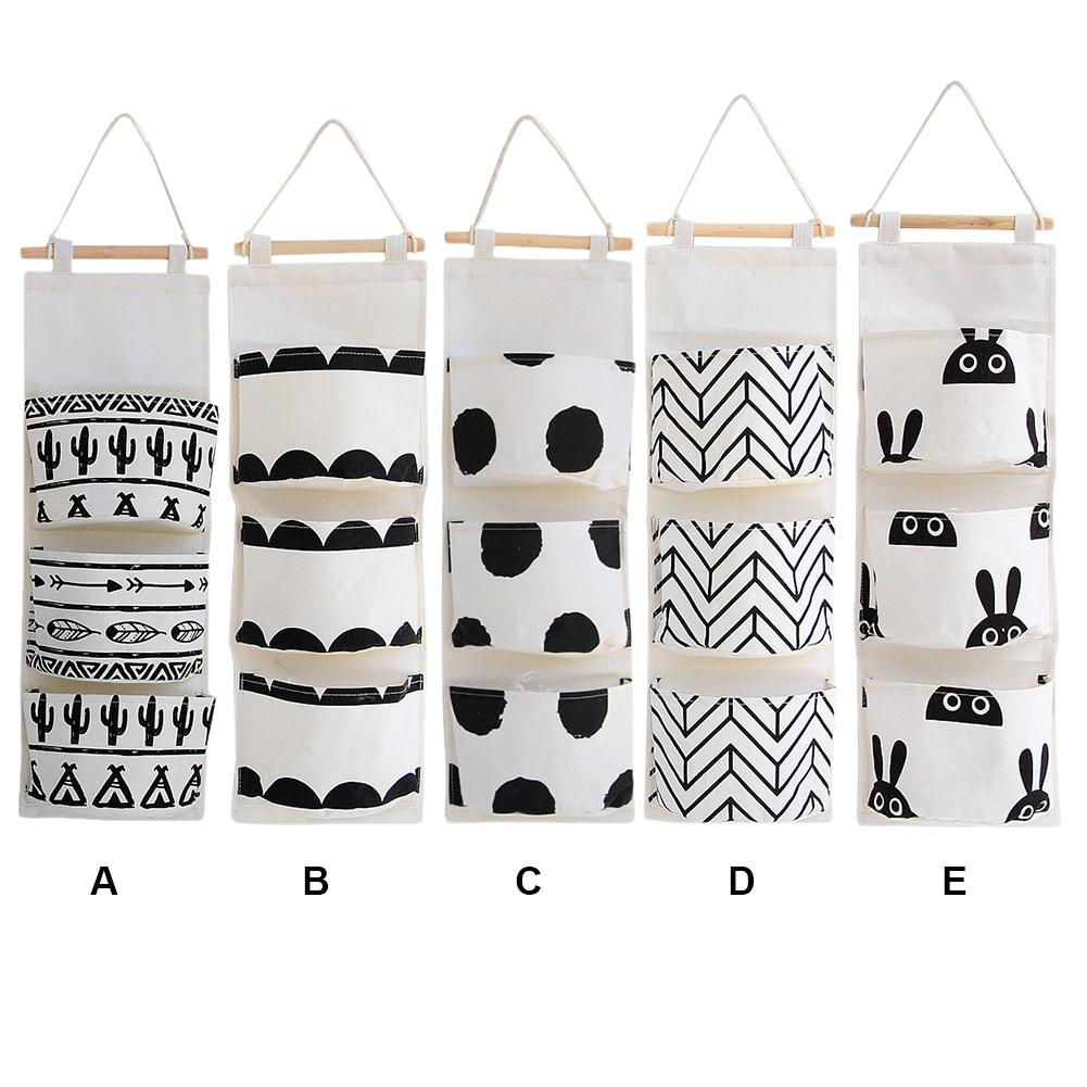 Black White Pattern Cotton Linen Hanging Storage Bag 3 Pockets Wall Mounted Wardrobe Hang Bag Wall Pouch Cosmetic Toys Organizer