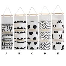 Sac de rangement suspendu en coton à motif noir et blanc, sac de rangement suspendu à 3 poches pour penderie murale, pochette murale pour organisateur de cosmétiques et de jouets