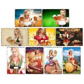 Прикрепите девичьи пивные тарелки, металлические винтажные Плакаты для гаража, бар, пивные оловянные тарелки, украшение 20x30cm