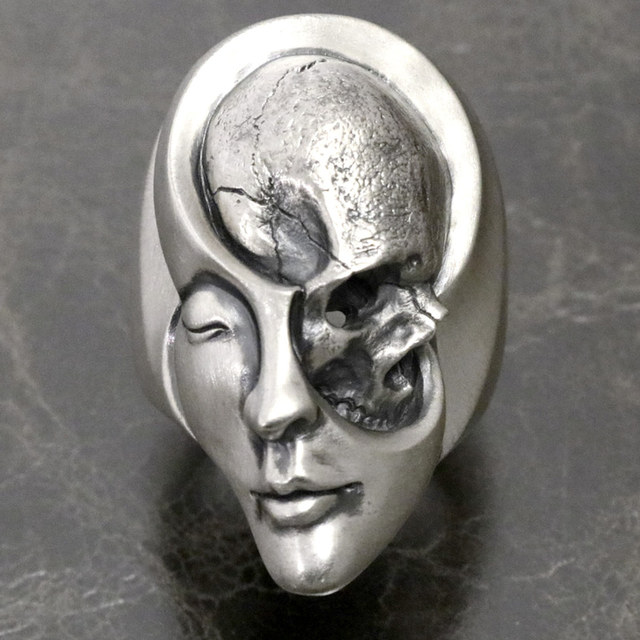 STAINLESS STEEL HUMAN DUALITY SKULL RINGS
