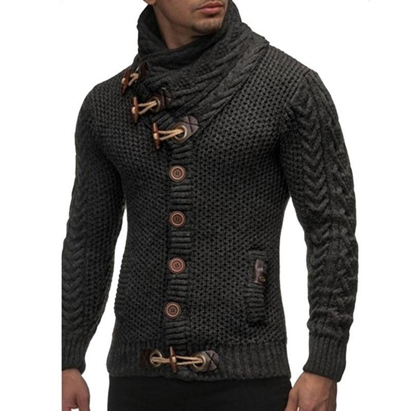 Mens 2019  Buckle Sweater Cardigan Autumn Winter Fashion Warm Thick Hedging Turtleneck Knitting Jumper Sweaters