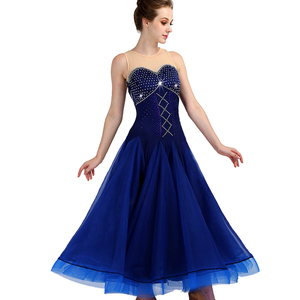 Image 1 - CACARE Ballroom Dance Competition Dresses Waltz Dress Standard Dance Dresses D0955 Luxury Rhinestones Mesh Back Fluffy Hem