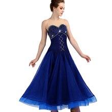 Cacare dança de salão vestidos competição valsa vestido vestidos de dança padrão d0955 luxo strass malha volta fofo hem