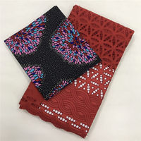 Swiss voile lace with african wax prints fabric high quality cotton fabric sets wax match lace fabric sets 3+2 yards WJ30