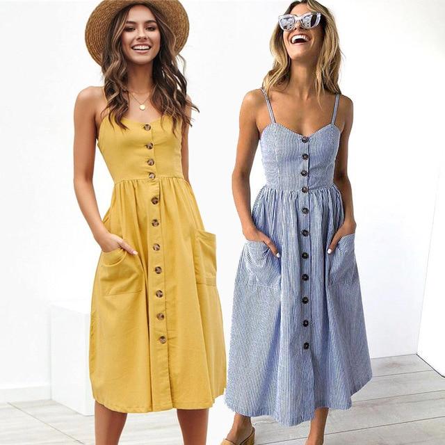 Boho Sexy Floral Dress Summer Vintage Casual Sundress Female Beach Dress Midi Button Backless Polka Dot Striped Women Dress2020  5