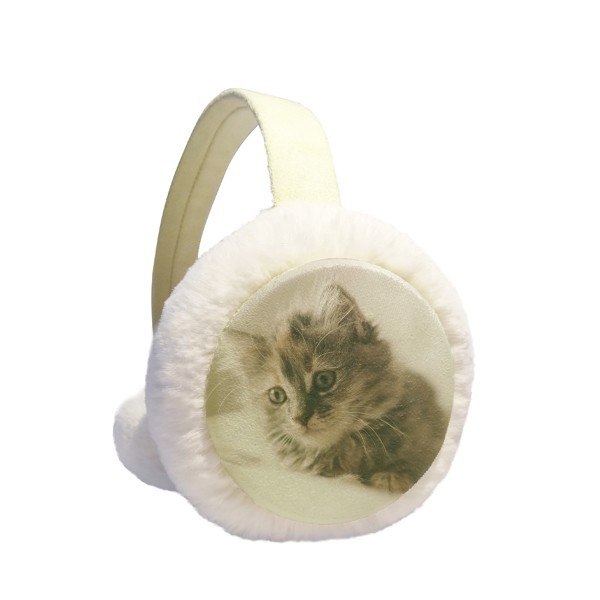 Animal Kitty Gray Cat Photograph Winter Earmuffs Ear Warmers Faux Fur Foldable Plush Outdoor Gift
