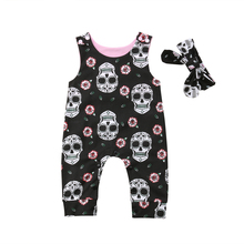 Baby Romper Newborn Baby Boy Girl Sleeveless Skull Floral Romper Jumpsuit Headband 2pcs Outfits Baby Clothes black floral print drawstring sleeveless romper